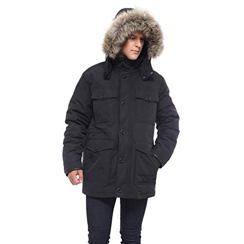 Rokka&Rolla Men's Water-Resistant Hooded Heavy Insulated Parka Jacket Removable Faux-Fur Hood Trim, Very Black, S/CH