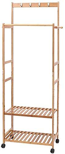 Kruiwagenhouder voor slaapkamer, dubbele stang, van hout, hanger, dubbele banden, haak van de schaats, 43 x 60 x 31 cm, LostGaming