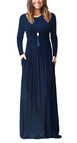 HIYIYEZI Women's Short Sleeve Loose Plain Maxi Dresses Casual Long Dresses with Pockets (M, 01 Navy Blue- Long Sleeves)