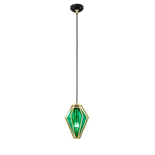Bereitstellen-moderne Küche Lüster,100% Metal Käfig Frame Kronleuchter Mit Glas Lampenschirm,loft Industrielle Vintage Hängeleuchte Insel Veranda Flur Deckenleuchte-b-grünes Glas 1-licht
