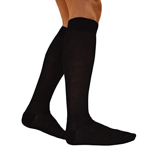 RV97 Calcetines de hombre largos de hilo de Escocia (7 pares: 6 + 1 fantasía) calcetines fabricados en Italia 100% algodón fresco resistentes elegantes tejidos bajo la rodilla Negro  39-42 EU