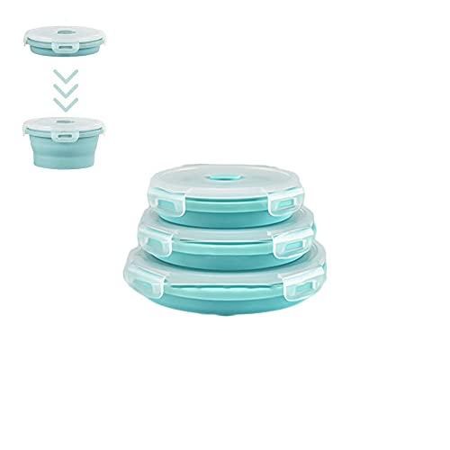 Bento Box Pieghevole in Silicone, 3 PCS Scatola da Pranzo Pieghevole Rotonda con Coperchio, Salvaspazio, Microonde, Lavastoviglie e Congelatore (Azzurro)