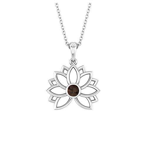 Colgante de flor de loto, collar solitario, cuarzo ahumado redondo de 3 mm, colección de joyas florales de oro macizo, regalo de San Valentín para ella, 10K Oro blanco Con cadena