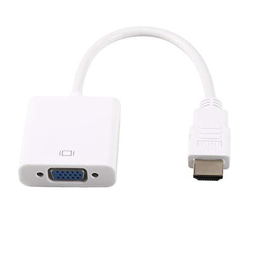 Cable de Video HDMI Macho a VGA Hembra con Adaptador de convertidor de Cable Jack de 3.5 mm 1080P para Dispositivo de Entrada HDMI HDTV - Blanco