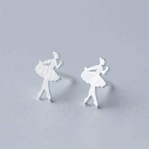 Katylen Pendientes de Plata S925 Mujer Dulce Cepillado Princesa Bailarina de Ballet Pendientes Niña Pendientes Joyería, Photo Color, 925 Silver