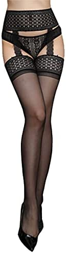 Crotchless Pantyhose Stockings for Women Girls,Sexy Control Top Lace GarterBelt Tights