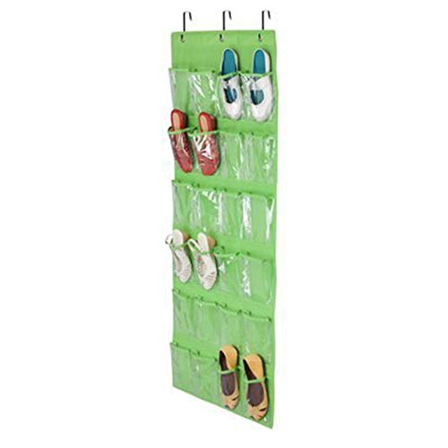 Jkhome Over The Door Hanging Shoe Organizer Rack Holder Home Non-woven Transparent Storage Bag 24 Pockets With 3 Hooks (Green)