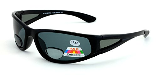 Mens Polarized fly fishing sunglasses with bifocal lens readers (Black/Black Lens, 2.00 Bifocal)