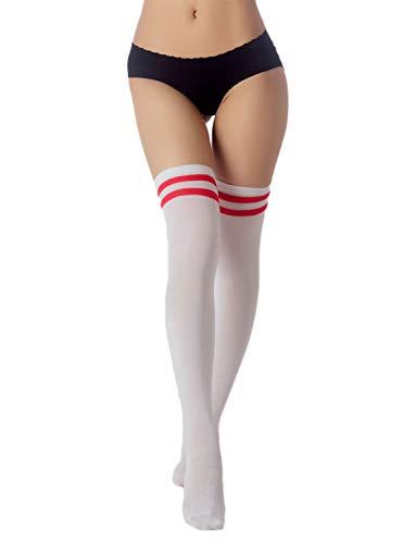 iB-iP Damen Navy Stripes Sport Stil cute Hold-up Schenkel Hoch Knee-High Socken, Größe: Einheitsgröße, Weiß & Rot