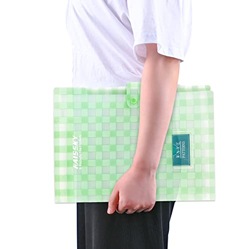 Expanding File Folder 6 Pockets, Guzack Accordion Document Folder Organizer A4 Letter Paper File Organizer Pockets with Buckle Closure, Plastic Expandable File Folders for School Office Home Photo #3