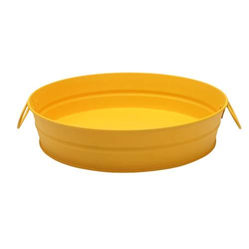 Cabilock Edelstahl Snack Teller Fütterung Servieren Teller Dessertteller Gelb Pommes Frites Snack Mini Platte aus Edelstahl Gelb