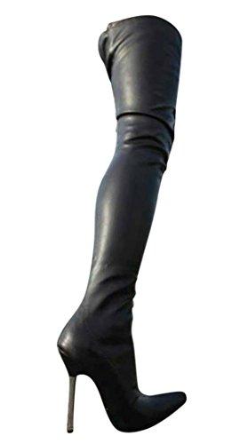 Erogance Leder Optik High Heels Crotch Overknee Stiefel A10907L / EU 39