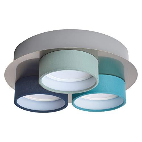 LED-Deckenleuchte Bjerke mit silberner Deko-Platte mit türkisem, hellgrünem und dunkelblauem Stoffschirm 3-flammig GU10 Fassung | Gemütliches Licht - Skandinavischer Stil