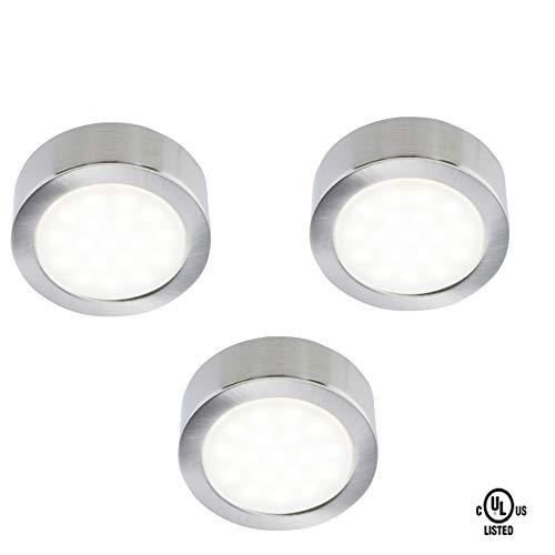 Siena LED Lighting Exclusive Silver Metal Cover LED Puck Light - Naturel White Light (3,000k) - Under Cabinet and Furniture - 120v/110v - Dimmable - Line-Voltage- Code 20838B (3 Pack)