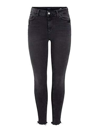 PIECES Damen Jeans Mid Waist Cropped MLight Grey Denim