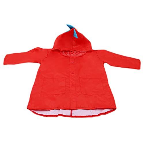 Eleusine Niedlichen Kleinen Dinosaurier Wasserdicht Polyester Regen Mantel Jungen Kinder Mädchen Winddicht Poncho Kindergarten Student (Rot, L)