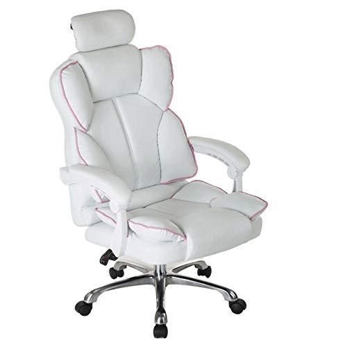 Silla ergonómica para juegos en casa, oficina, escritorio, con soporte lumbar y reposabrazos acolchados diseñados para la generación joven, cuero exclusivo giratorio