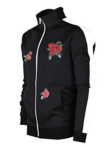 SCREENSHOTBRAND-F11853 Mens Urban Hip Hop Premium Track Jacket - Slim Fit Side Taping Rose Embroidery Fashion Top-BK/WH-Medium