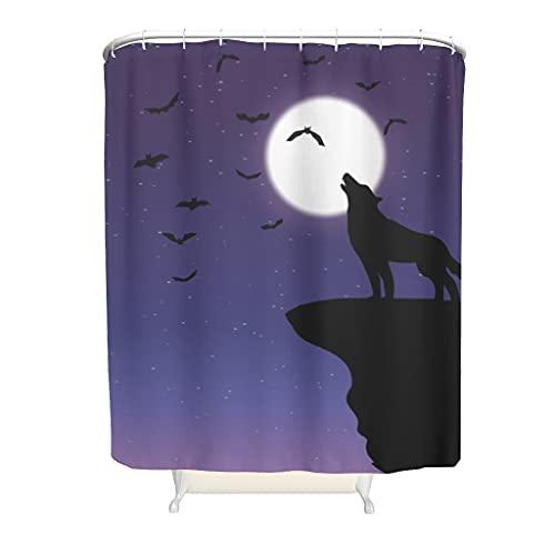 Wandlovers Polyester Duschvorhang Fantasy Wolf Fledermäuse Mond Druck Einzigartig Badezimmervorhang mit Plastikringschnallen Stände & Badewannen white 91x180cm