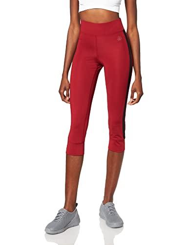 Marca Amazon - AURIQUE Mallas de Deporte Cortas con Banda Lateral Mujer, Rojo (Red Dhalia), 36, Label:XS