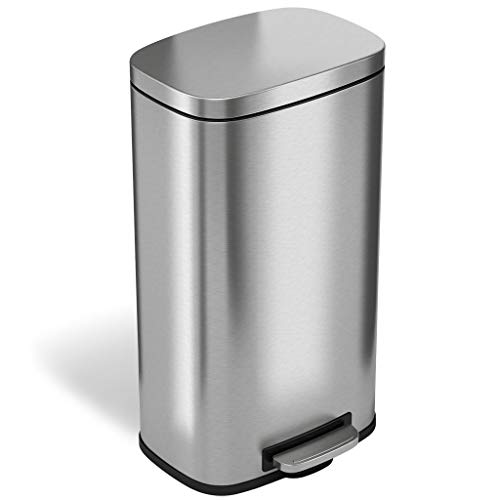 iTouchless SoftStep 8 Gallon Step Trash Can with Activated Carbon Filter Deodorizer Removable Inner Bucket Stainless Steel 30 Liter Pedal Garbage Bin for Office Home and Kitchen