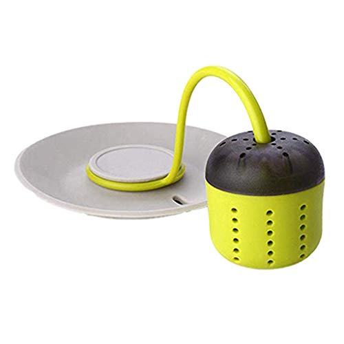 Luccase Grün Silikon Teesieb 15x9.8cm Kreative Faul Teezubereiter Wiederverwendbare Blattfilter Diffusor Abnehmbares Silikon Teefilter mit Wärmeisolierungs für Teetasse