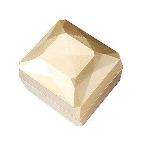 TOPBATHY Herd Emaille Schmuckschatulle Vorschlag Fingerring Fall mit LED-Licht für Hochzeitstag Valentinstag (golden)