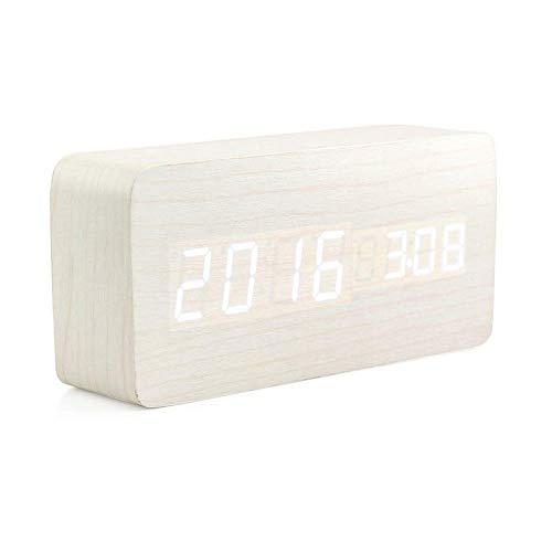 CVBN Reloj Despertador Digital de Madera Creativo Reloj Despertador LED Multifuncional Elegante, Madera Blanca