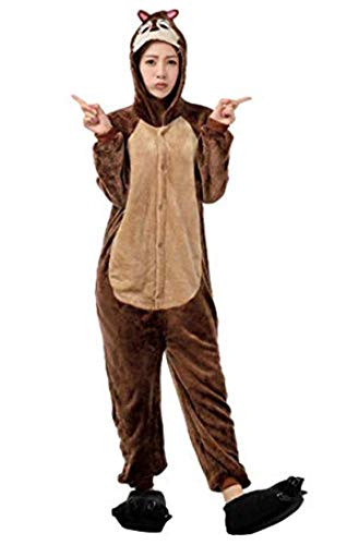 Pyjama Cosplay Karnevals Kostüme für Erwachsene Halloween Fest Party Tier Onesie Body Nachtwäsche Kleid Overall Animal Sleepwear Erwachsene Kigurumi Zoo Cosplay (XL, Eichhörnchen)