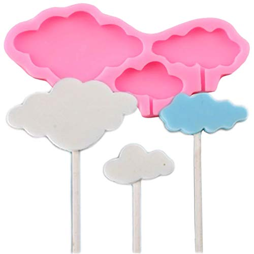 FGHHT 3D Cloud Lollipop Silicone Molds Cupcake Topper Fondant Mould Cake Decorating Tools Chocolate Gumpaste Candy Polymer Clay Moulds