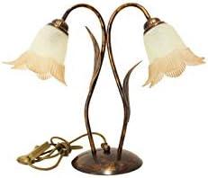 Ilab - Lámpara grande de 2 luces de hierro forjado - Colección Carla - Monta 2 bombillas E14 - Casquillo pequeño máx. 40 W - Anchura: 44 cm - Altura: 37 cm - Luz de mesa