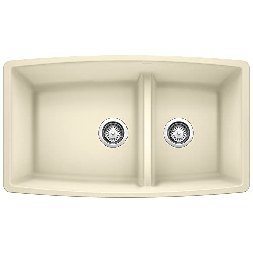 BLANCO, Biscuit 441311 PERFORMA SILGRANIT 60/40 Double Bowl Undermount Kitchen Sink with Low Divide