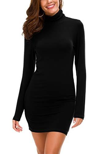 Vestido Ajustado de Manga Larga para Mujer Vestido Elegante de Cuello Alto con Cuello Alto (XL, Negro)