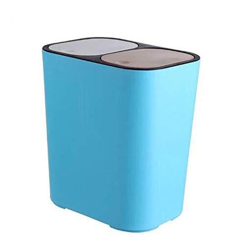 YFAH Diseño Moderno De Separación Rectangular Simple De Cubo Doble De Basura Y Diseño De Volteo Adecuado para Clasificar Botes De Basura En La Sala De Estar,Azul