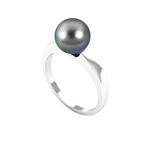Anillo solitario simple de perlas de Tahití de 4,50 CT (calidad AAA), 14K Oro blanco, perla tahitiana, Size:US 63