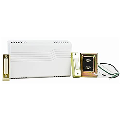 Newhouse Hardware CKIT1 Two Note Electric Door Bell Chime Kit w/ 16V/10VA Transformer & Surface Mount Lighted Push Buttons, 16V/10 Vac, White