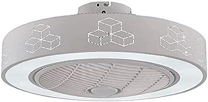 MAMINGBO Ventilador de techo de ventilador con kit de luz, lámpara de techo redonda de montaje de descarga regulable moderna, accesorio de luz de ventilador LED integrado con control remoto para la ha