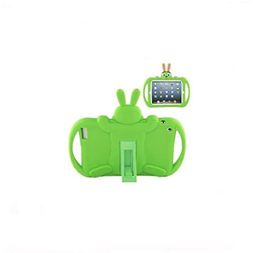 Caja de protección portátil de dibujos animados Compatible con iPad 2 3 4 Niños Tableta de silicona suave Tableta trasera Cubierta protectora verde