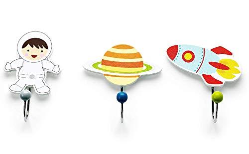 Mousehouse Gifts - Lot de trois patères pour enfant - bois/astronaute/planète