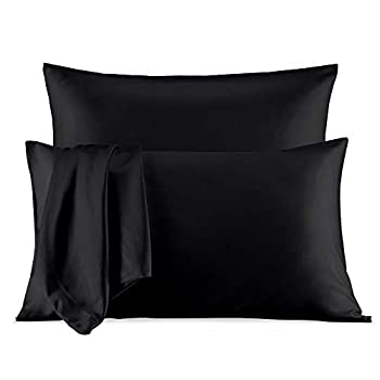 SLEEP ZONE 2-Pack Silky Soft Satin Pillowcases for Hair and Skin Queen Size  20x30 inches  Luxury Pillow Covers with Envelope Closure Black
