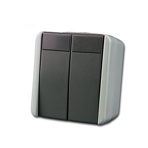 fontana Doppel-Taster, grau 250V~/10A, AP, IP44