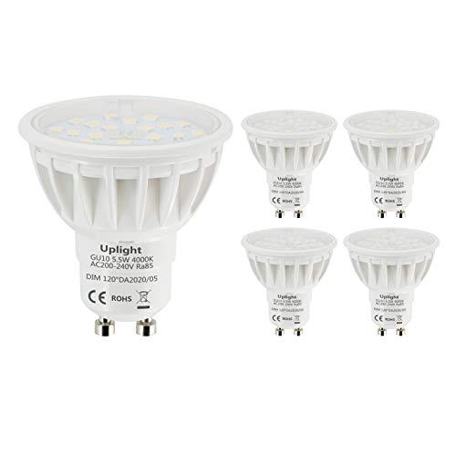 Uplight 5.5W Dimmbar GU10 LED Lampe, Naturweiß 4000K,Ersetzt 50-60W GU10 Halogen Lampen 600lm LED Leuchtmittel Ra85 120° Abstrahlwinkel,5er Pack.