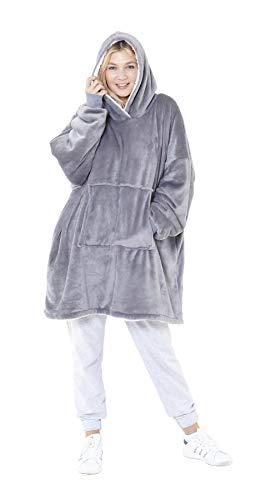 Eskimo Oversized Sherpa Hoodie Sweatshirt Blanket - Warm and Cozy - Reversible with Pockets Grey