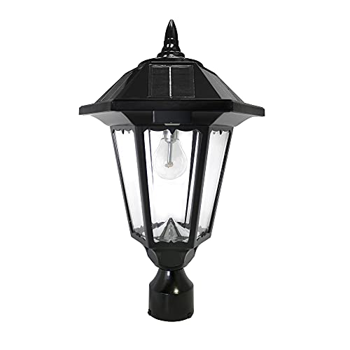 """GAMA SONIC Windsor Bulb Solar Light, Outdoor, LED, Wall, Pier, and 3"""" Post Mounts Included, Black GS-99B-FPW"""
