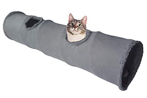 LeerKing Túnel Plegable para Gatos Tubo de Juguete Largo para Mascotas con 2 Agujeros, Gris 130 * 30cm