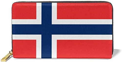 Damen Portemonnaie mit Norwegen-Flagge, Echtleder, 36