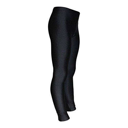 Mädchen Leggings Kinder Sporthose elastisch glänzend Lycra komfortabel lange Fitnesshose für Gymnastik, Tanzen, Ballett & Yoga Farbe Schwarz, Größe 140 (10 Jahre)