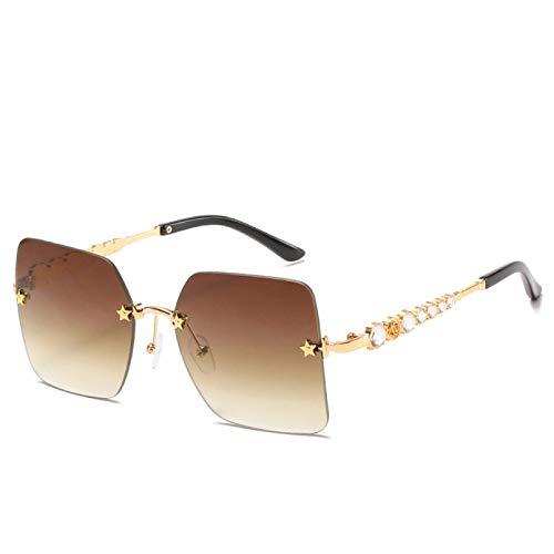 TYOLOMZ Gafas De Sol Cuadradas Sin Montura con Espejo, Mujeres, Hombres, Personalidad, Mosaico, Gafas De Diamante, Piernas,Gafas De Diseñador DeMetal A La Moda