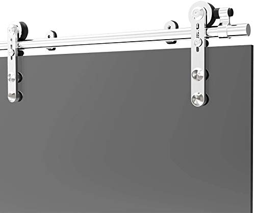152CM/5FT Herraje para Puerta Corredera Acero Inoxidable Kit de Accesorios, Guia Riel Puertas Correderas, Para puertas de cristal