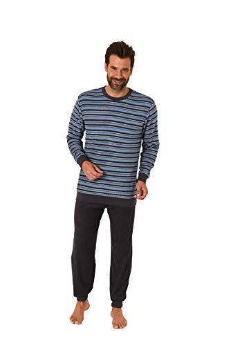 Herren Frottee Pyjama Schlafanzug mit Bündchen - Streifenoptik - 65963, Farbe:Navy, Größe:50